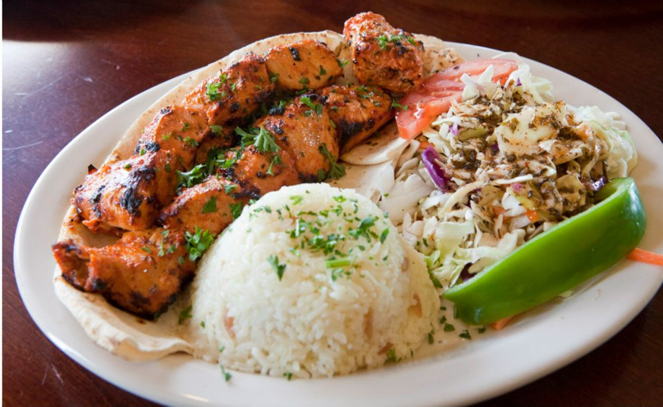 Zeytin Chicken Shish Kebab rice and Turkish Coleslaw