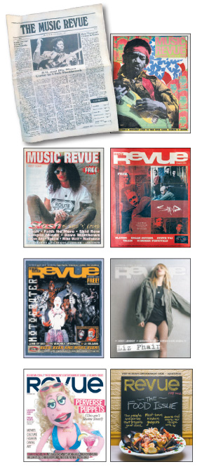 timeline of Music Revue covers