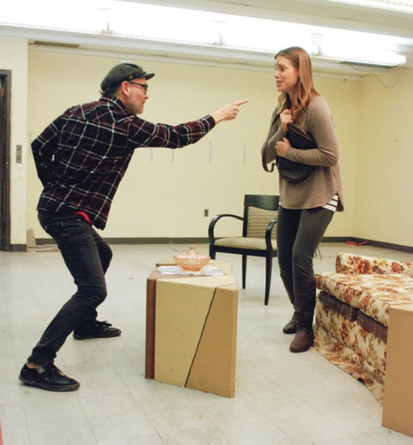 "Shane German as Barney, Kristin Tomlin as Jeanette, rehearsing for ""Last of the Red Hot Lovers."""