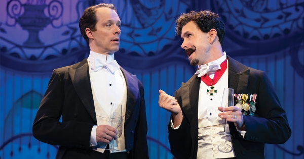 Laird Mackintosh as Professor Henry Higgins and Wade McCollum as Professor Zoltan Karpathy.