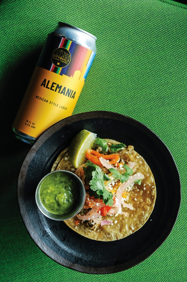 City Built Brewing Lechon Taco paired with Alemania